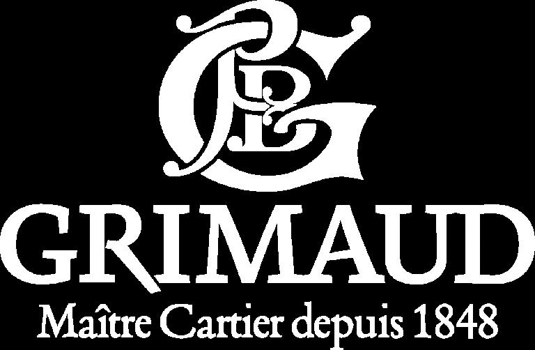 Logo Grimaud blanc, Maître Cartier depuis 1848
